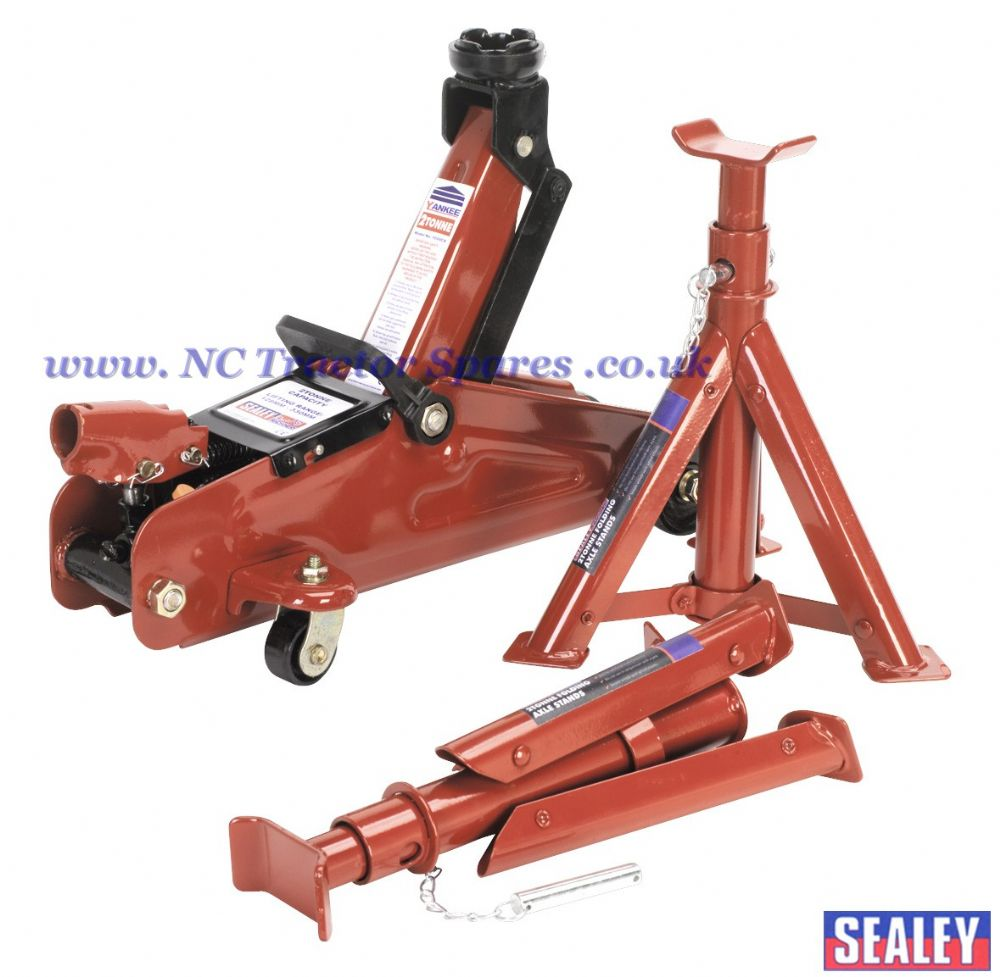 Trolley Jack 2tonne Short Chassis with Axle Stands & Storage Case